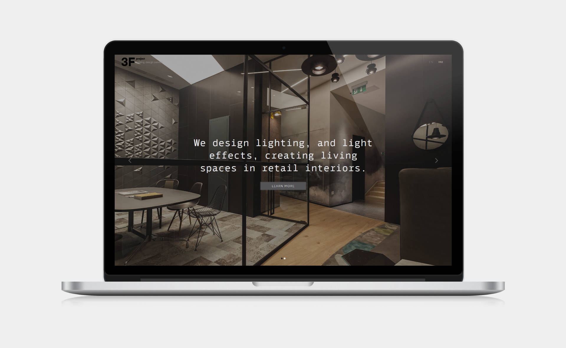 Landing page design, and bespoke WordPress website building for 3F Project's retail lighting service home page on desktop