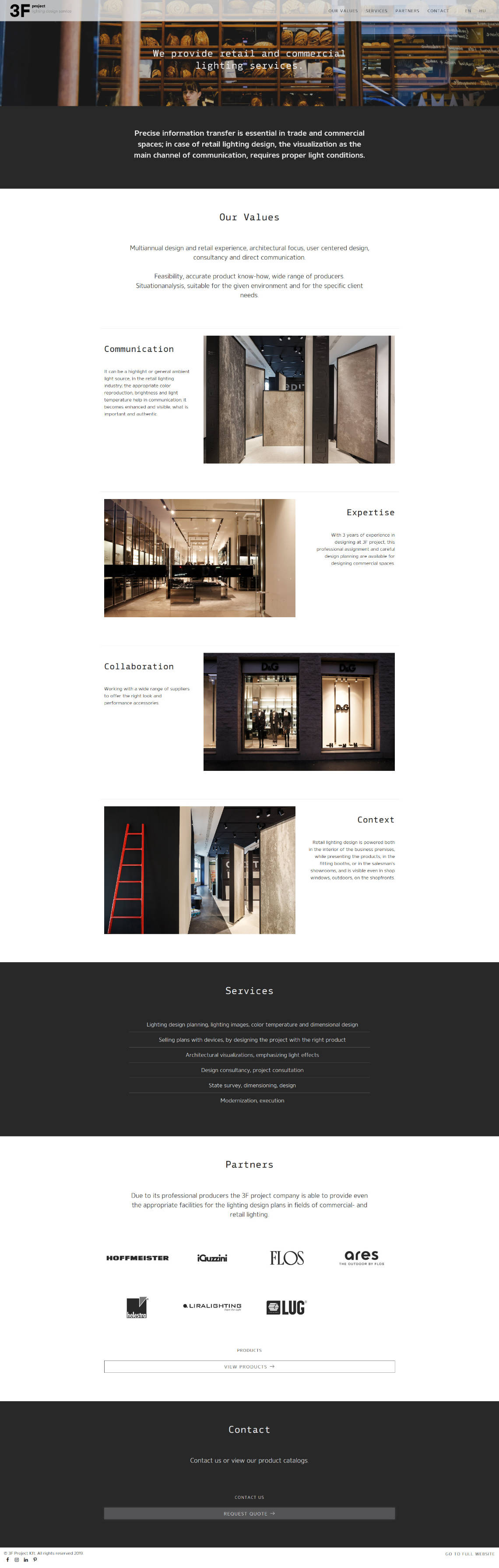 Landing page design, and bespoke WordPress website building for 3F Project's retail lighting service home page screen