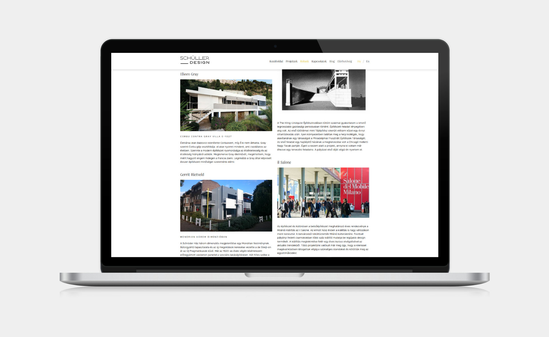 Web design and web development for SCHÜLLER ÉS TÁRSAI design studio about page on desktop